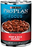 Purina Pro Plan Wet Dog Food, Focus, Adult 7+ Beef & Rice Entrée Morsels in Gravy, 13-Ounce Can, Pack of 12