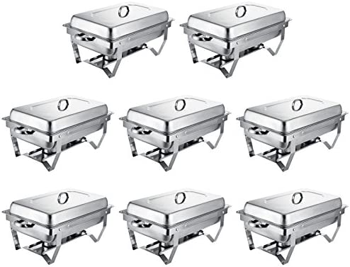 VEVOR Set of 8 Chafing Dish 8 Quart Chafing Dish Buffet Set Full Size Stainless Steel Chafing Dish with Folding Frame for Kitchen Party Dining Set of 8