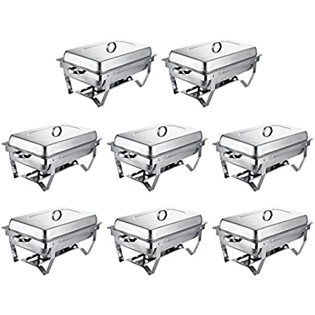 Happybuy 8 Pcs Chafing Dish Stainless Steel Chafer 8 Quart Chafers For Catering Full Size Rectangular Chafing Dishes Buffet For Party