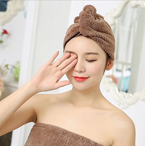 Ultra Absorbent & Fast Drying Hair Hat Women's Soft Shower Hair Towel Hair Drying Towel Microfiber Fast Drying Head Wraps Turban Shower Cap for Girls Purple,Pink,Coffee Color,Light Grey