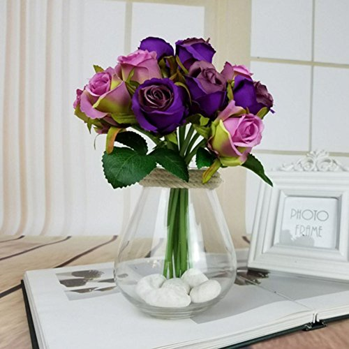 Artificial Rose Flowers Artfen Simulation Rose Wedding Bouquets Fake Floral Rose Flower Silk Flower Hand Tied Bouquet Purple