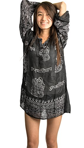 Hippie Tunic Blouse - Tribe Azure Summer Hippie Boho Women's Long Sleeve Tunic Casual Blouse OM Loose Shirt Top Casual (Black)