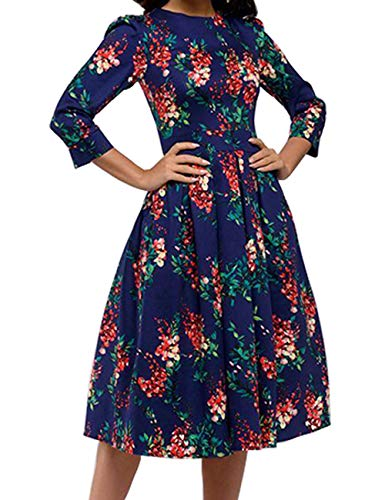 Simple Flavor Women's Floral Vintage Dress Elegant Autumn Midi Evening Dress 3/4 Sleeves (Navy Blue,XL)