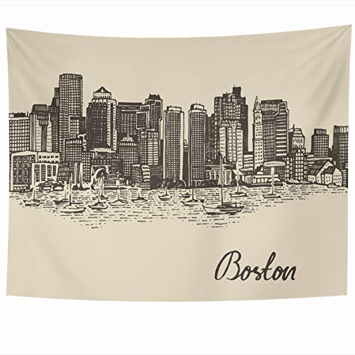Ahawoso Tapestry 60x50 Inches French Massachusetts Boston Skyline Big City Breed Vintage Engraved Sketch Harbor Hand Pencil Wall Hanging Home Decor Tapestries for Living Room Bedroom Dorm