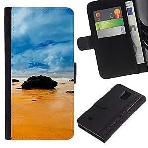 Ihec-Tech / Flip PU Cuero Cover Case para Samsung Galaxy Note 4 SM-N910 - Rocks on the beach