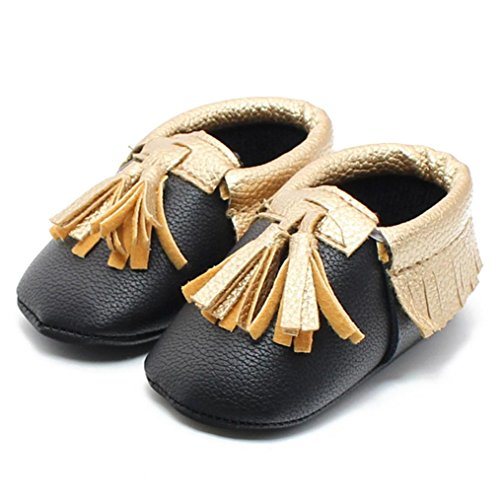 Price comparison product image Baby Kids Shoes,  Misaky Tassel Soft Sole Leather Infant Boy Girl Toddler Shoes (12cm,  Black)