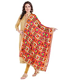 Dupatta Bazaar Women's Red & Multicoloured Chiffon Dupatta with Phulkari Embroidery