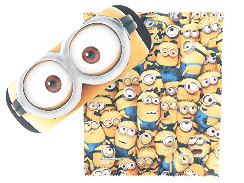 Minions Eyeglasses Case & Cross with Spring-loaded Square Type Hard (Zoom - Glasses Minion Case
