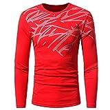 YANG-YI Mens Autumn Winter Top Fashion Printing Long-Sleeved T-Shirt Blouse