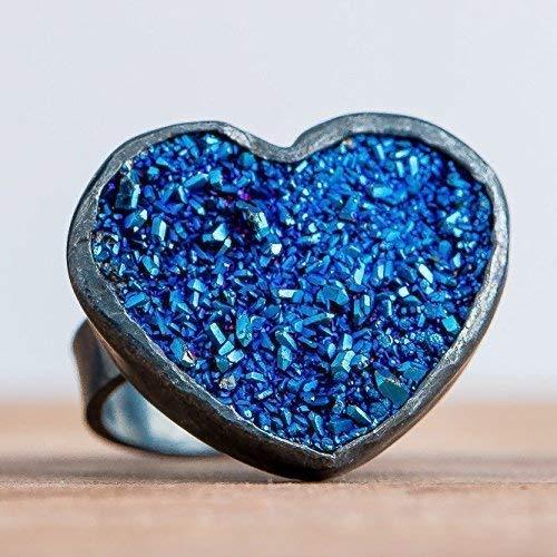 Size 5.5 Dark Blue Heart Shaped Druzy Agate Gemstone Ring in Oxidized Black Sterling Silver