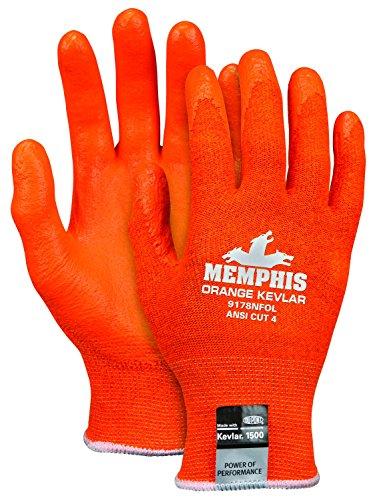 MCR Safety 9178NFOL Memphis Kevlar 13 Gauge, Hi-Vis DuPont Kevlar Shell, Nitrile Foam Palm Gloves (1 Pair), Orange, Large