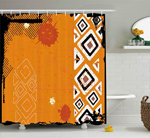 Ambesonne Tribal Shower Curtain, Ethnic African Design with Bold Lines Geometric Triangles Artwork Image, Fabric Bathroom Decor Set with Hooks, 70 Inches, Black Orange and White