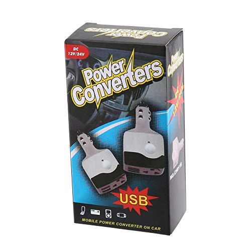 DC 12//24 V a AC 220 V Adaptador de inversor de Corriente para autom/óvil Cargador de autom/óvil Convertidor-Negro y Blanco