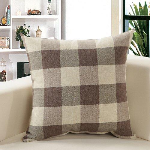 M MOCHOHOME Linen Plaid Checkered Square Decorative Throw Pi