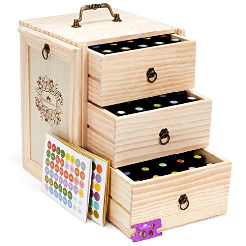 (Essential Oil Storage for 75 Bottles - Holds 5 10 15 20 30 ml Young Living & Doterra bottles - Essential Oil Box)