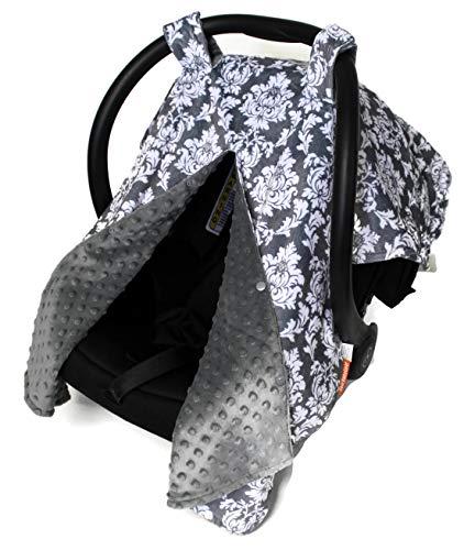 Dear Baby Gear Deluxe Car Seat Canopy, Custom Minky Print Grey and White Damask, Grey Minky Dot