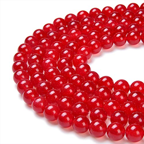 PLTbeads Gorgeous Red Dyed Jade Natural Gemstone Loose Beads 8mm Smooth Round Approxi 15.5 inch DIY Bracelet Necklace for Jewelry ()