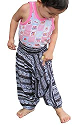 RaanPahMuang Brand Light Viscose Smock Kids Aladdin Pants Bright Prints, XX-Small, Blue Multi-Coloured