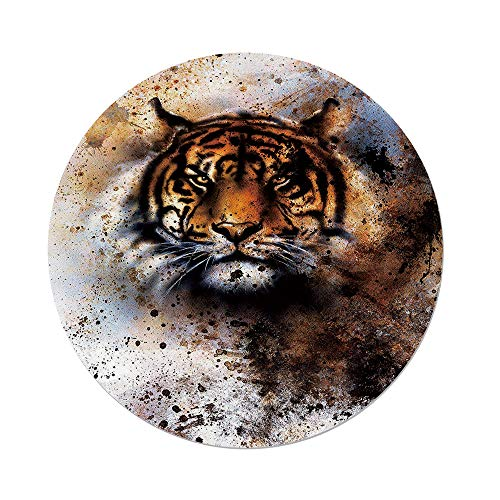 - Polyester Round Tablecloth,Tiger,Wild Beast Looking Straight into The Eyes of The Viewer Angry Looking Panthera Tigris Decorative,Multicolor,Dining Room Kitchen Picnic Table Cloth Cover,for Outdoor I