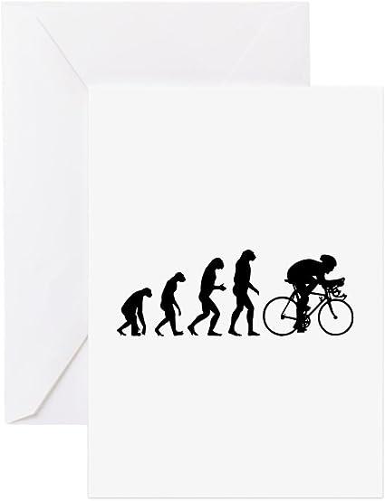CafePress – Evolución de ciclista – Tarjeta de felicitación, tarjeta de nota, tarjeta de cumpleaños, interior en blanco brillante: Amazon.es: Oficina y papelería