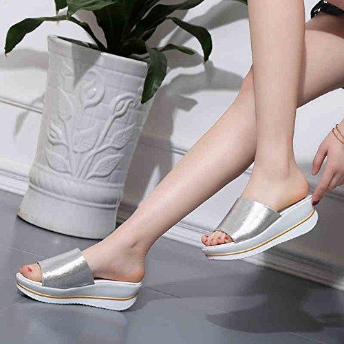 Sandals Women's Comfort PU Spring Summer Casual Dress Comfort Platform Gold Black Silver Flat Stylish/comfortable (Color : Silver, Size : EU39/UK6.5/CN40) Silver