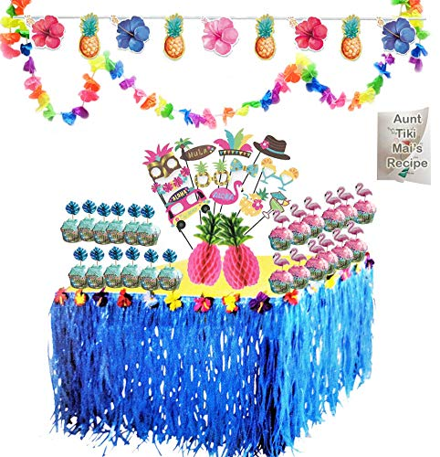 Luau Party Tropical Hawaiian Decorations Set Blue Grass Fringe Table Skirt Flowers Lei Garland Pineapple and Hibiscus Flower Banner Flamingo and Palm Leaf Cupcake Kit and Bonus Summer Recipe