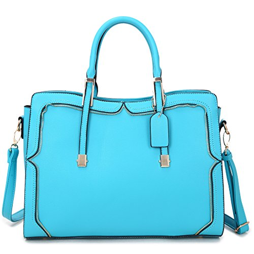 Top Satchel Handle Handbag 8172 Structured Zip Leather Crossbody Purse Bag Fashion Vegan blue Shoulder AfZwAqxBr
