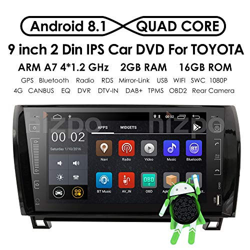 9 Inch Android 8.1 Touch Screen 2 DIN Car Video Player Stereo in Dash GPS Navigation Receiver with Bluetooth for Toyota Tundra 2007-2013 Sequoia 2008-2013