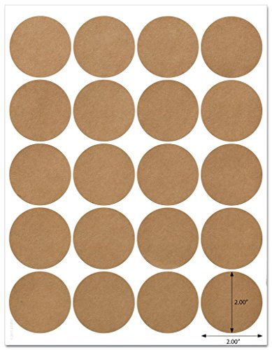 Textured Brown Kraft 2 Inch Diameter Circle Labels with Template and Printing Instructions, 5 Sheets, 100 Labels (JRBK20)