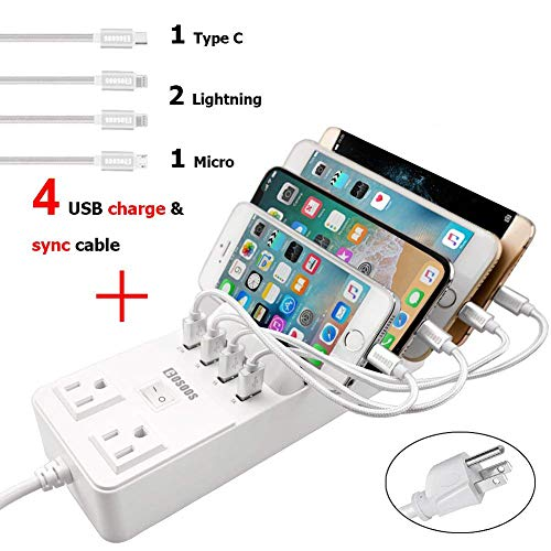 Power Strip with 4 USB Cables, COSOOS 4 USB Charging Station with Surge Protector, 2-Outlet 4.5ft Extension Cord, Multi Device Fast Charge Hub for iPhone, iPad, Apple, Samsung, Tablets and Travel Use by COSOOS