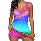 Longay Women Rainbow Halter Tankini Push-up Bikini Swimsuit Bathing Suit Beachwear Top (M, Pink)
