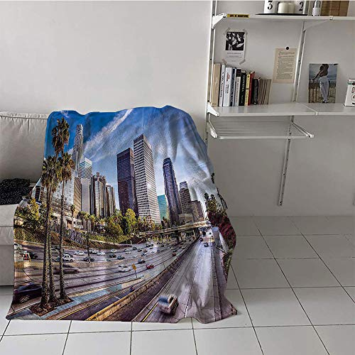 Khaki home Children's Blanket Convenience Digital Printing Blanket (30 by 50 Inch,Travel Decor,Downtown Cityscape of Los Angeles California USA Avenue Buildings Palms,Blue Grey Green