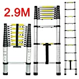 CDC Multi-Purpose 2.9M/9.5FT EN131 Folding Climb Scalable Aluminium Telescopic Retractable Ladders Extension Extendable, Professional Heavy Duty Extension Telescopic Contractor Ladder Type for Home Loft Office Contractor