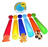 Set of 6 High Quality BPA Free Silicone Rainbow Back to School Snack Sleeves / Ice Pop Molds For Homemade Healthy Pops - Assorted Colors, Durable, Easy to Wash, Meets All FDA Standards