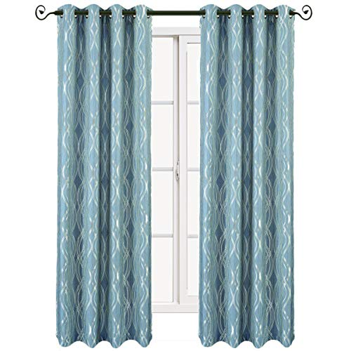 Set of 2 Panels 104 Wx108 L -Royal Tradition – Regalia -Blue- Jacquard Grommet Window Curtain Panels, 52-Inch by 108-Inch Each Panel. Package Contains Set of 2 Panels 108 inch Long