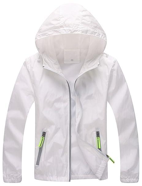 ZSHOW Mujer Super chaqueta ligera secado rápido rompevientos UV proteger abrigo, Mujer, color blanco, tamaño XX-Large: Amazon.es: Ropa y accesorios