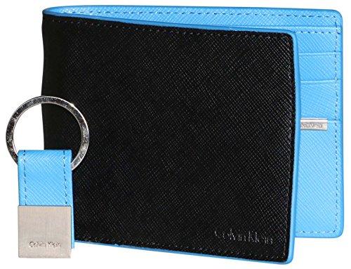 Calvin Klein Men's Leather Bifold Wallet w/ Key Fob, black/Blue, One Size