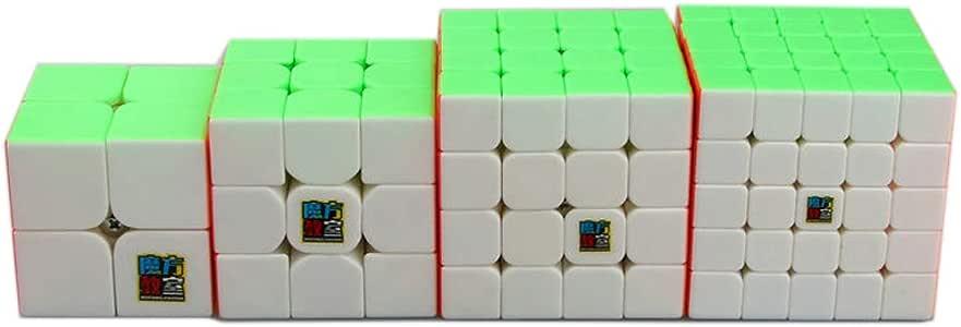 Gobus Pack de 4 MoYu MOFANGJIAOSHI Magic Cube 2x2 3x3 4x4 5x5 Set de Cubos de Velocidad sin Pegatinas, Set de Coleccion de Cubos Puzzle stickerless: Amazon.es: Juguetes y juegos
