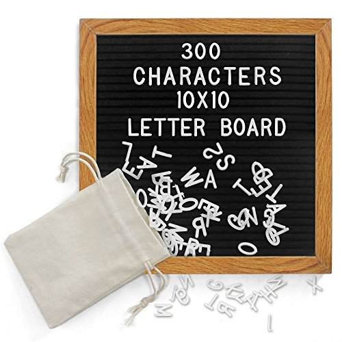 Black Felt Letter Board 10x10 Inches. Vintage Changeable Letter Boards Oak & Frame 300 White Plastic Letters Include Numbers and Punctuation, Mounting Hook, Plus Free Letter Bag