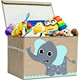 Hurricane Munchkin Large Toy Chest. Canvas Soft Children Toy Storage Bin Organizer with Lid. Kids Toy Box for Boys, Girls, Toddler and Baby Nursery 14'x 15'x 21' (Elephant)
