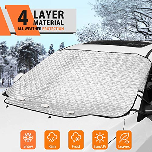 MATCC Car Windshield Snow Cover Frost Guard Winter Windshield Snow Ice Cover Magnetic Edges Car Snow Cover All Weather Fit Most Cars