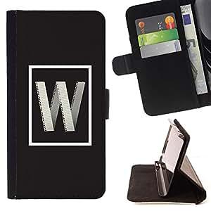 BullDog Case - FOR/HTC Desire 820 / - / w internet letter initial poster grey /- Monedero de cuero de la PU Llevar cubierta de la caja con el ID Credit Card Slots Flip funda de cuer