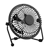 Small Desk Fan, Quiet USB Mini Retro Metal Personal Desk Table Fan with 3.9 Feet USB Cable Great for Office Room Desktop (4 inches, Black)