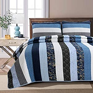 Cozy Line Home Fashions Netta Navy/Blue/White Striped Cotton Quilt Bedding Set, Reversible Coverlet,Bedspread Gifts for Men/Women(Floral Stripe, King - 3 Piece)