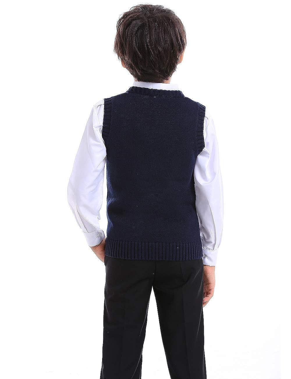 TOPTIE Boys V-Neck Cotton Knit Sleeveless Pullover School Uniform Sweater Vest SWEH-DK68304 Navy//Black