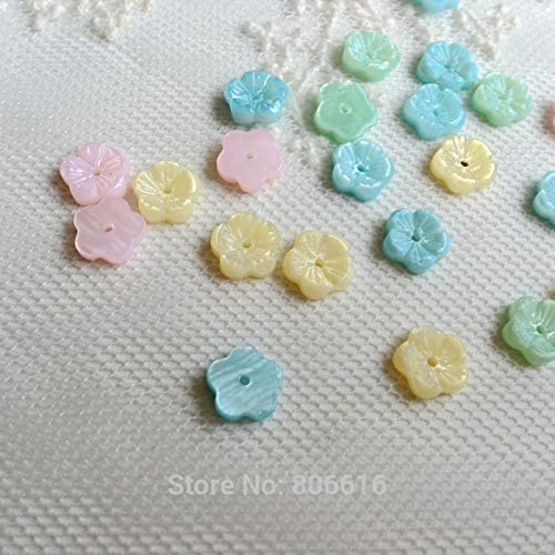 8MM 40Pcs Mix Colors Natural Pearl Sea Shell Flower Charms Jewelry Beads Pukido