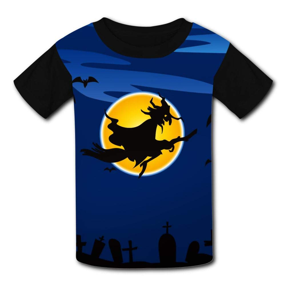 Elcacf Kids//Youth Witch Flying Over The Haunted Castle Comfortable T-Shirts Short Sleeve Children Tees Funny Creative