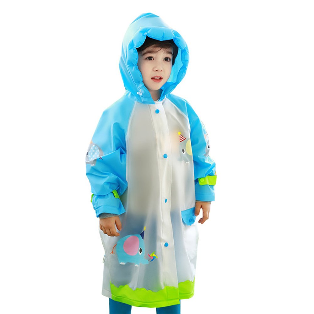 Kids Raincoat for Girls and Boys, Portable Reusable Raincoat with Hood and Sleeves, Rainwear Carton Elephant Waterproof Hood Jacket for School Outdoors by Hosim