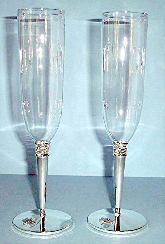 Kate Spade June Lane (Kate Spade JUNE LANE Champagne Flutes Set Of 2 Silverplate Dragonfly NEW)