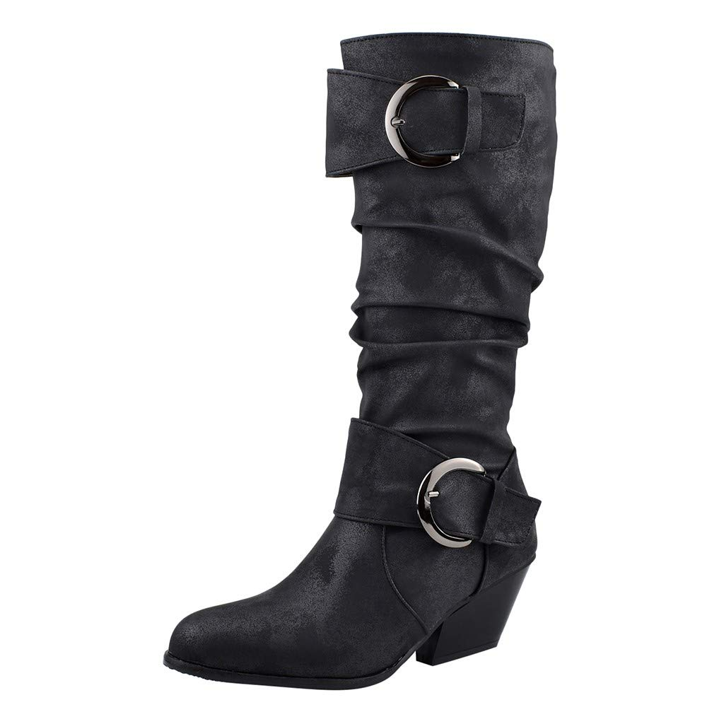Women's Knee High Flat Boot,Round Toe Slouch Buckles Square Heel Middle Tube Casual Booties (US:9.5, Black)